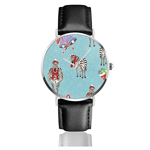 Men's Ultra Thin Fashion Minimalist Wrist Watches Zebra Sock Bells Christmas Snowflake Blue Merry Christmas Winter Cartoon Waterproof Quartz Casual Watch Mens -