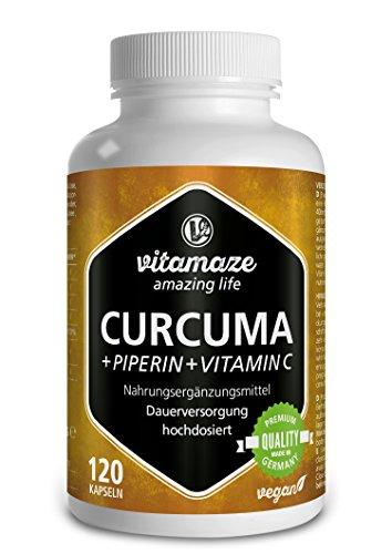 Ingwer-tinktur (Curcuma Kapseln + Piperin Curcumin hochdosiert + Vitamin C 120 Kapseln Kurkuma vegan für 6 Wochen, Qualitätsprodukt-Made-in-Germany ohne Magnesiumstearat, jetzt zum Aktionspreis und 30 Tage Rücknahme)