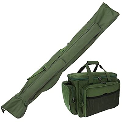 NGT Carp Fishing Set Green Insulated Carryall 3+3 Made Up Rod & Reels Holdall by NGT