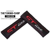 2x cintura Covers Pads Tracolla In Pelle, Colore: Nero con punto rosso grigio/rosso GT Line (Mazda 6 Oem Sostituzione)