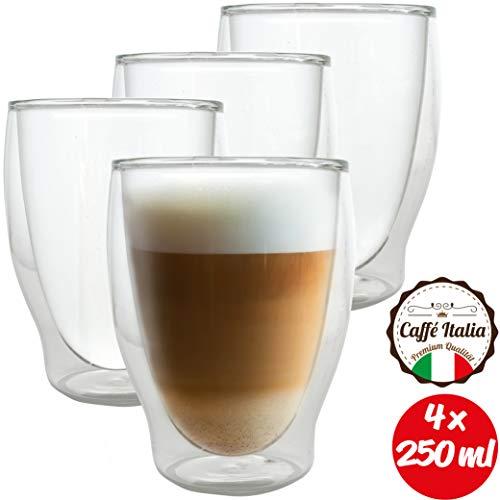 Caffé Italia Milano 4 x 250 ml Doppelwandige Gläser -Thermogläser für Cappuccino Tee Heiß- und Kaltgetränke - spülmaschinengeeignet