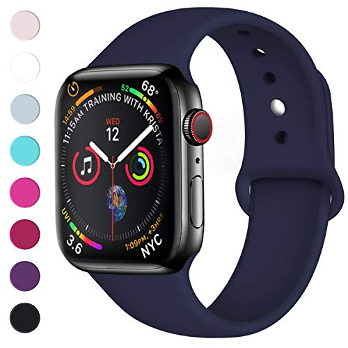 Lerobo Sport Correa para Apple Watch Correa 38mm 42mm 40mm 44mm, Pulsera de Repuesto de Silicona Suave Correa para Apple Watch Series 4, Series 3, Series 2, Series 1, 42mm/44mm S/M BLU