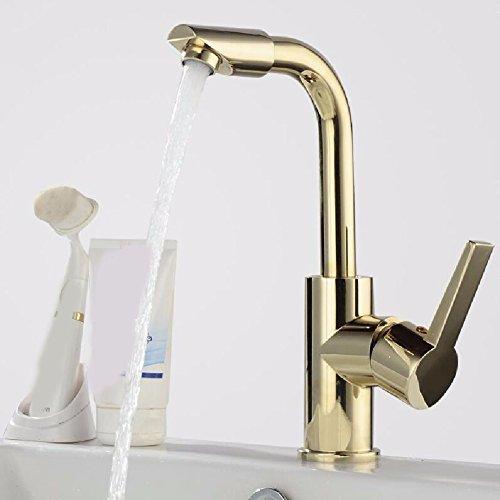 HQLCX Waschtischarmaturen Blondine Voller Kupfer Schwenken Schwenkbare Gesicht Heiß Und Kalt Der Einzigen Loch Waschbecken Wasserhahn