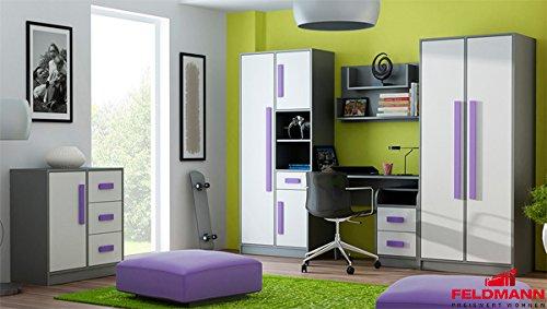 Jugendzimmer 20105 komplett 6-teilig anthrazit / weiß - Farbe der Griffe wählbar (violett)