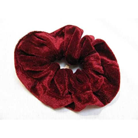 Classic Large Velvet Hair Scrunchy / Ponio band NEW-Available in Black,Grey,Navy Blue,Bright Red,Crimson Red,Burgundy,Purple,Dark Green. (burgundy) by