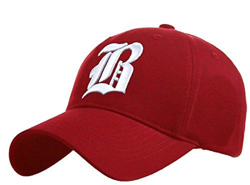 Unisex Damen Herren Baseball Cap Caps Gothic Letter B Hüte Mützen Snap Back Hat Hats (A nave blue red) (B red white)