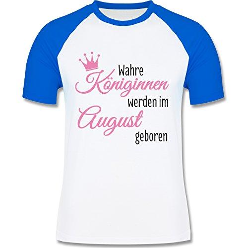 Geburtstag - Wahre Königinnen werden im August geboren - zweifarbiges Baseballshirt für Männer Weiß/Royalblau