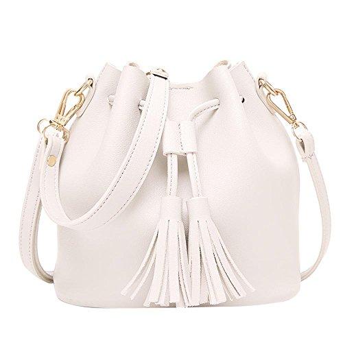 tasche PU Leder Quaste Kordelzug Handtasche Designer Crossbody Umhängetasche (Weiß) (Eimer Crossbody Handtasche)