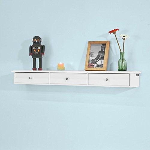 SoBuy®FRG43-L-W,Estantes de pared, Armario suspendido, Estanteria para trasteros, con tres cajones, blanco,ES