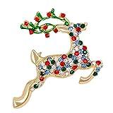 Nosterappou Carino Renna Spilla Colorful Strass Moda apparenza Carino Natale Mule Deer Spilla Spilla Joker Diamante Pieno di Colore Crystal Charm ed Elegante Spilla