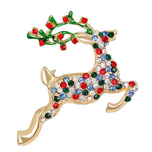 Nosterappou Nette Ren-Brosche-Bunte Rhinestone-Mode-Erscheinung Nette Weihnachtsmaultierhirsch-Brosche-Joker-Brosche voller Diamant-Farben-Kristallcharme und Elegante Brosche