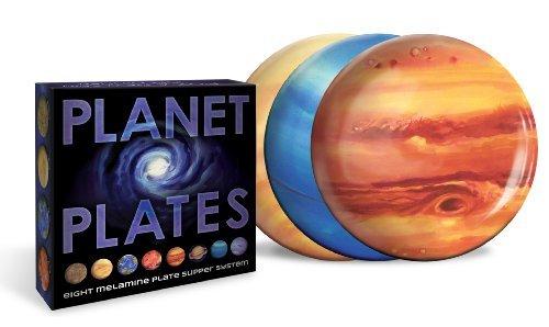 Planet Plates Set - Eight 10 Inch Melamine Astronomy Dinner Plates