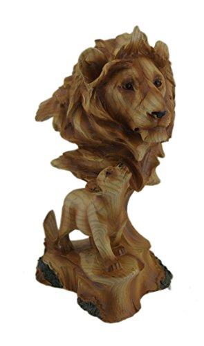 zeckos Holz geschnitzt Look Vater Löwe und Cub Tischplatte Statue