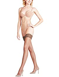 FALKE Damen Stay Ups Shelina 12 Denier - Ultra-Transparente, 1 Paar, Braun (Coffee 5309), Größe: L