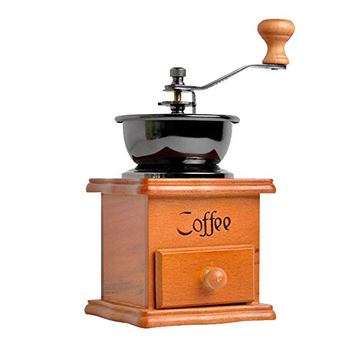 Retro Manuelle Kaffeemühle, Holz und Metall Hand Kaffeemühlen Mit Schublade Keramikmahlwerk für Kaffeebohnen Pfeffer und andere Gewürze Vintage Dekoration Kleine Kaffeemaschine (Holz Hand-kaffeemühle)