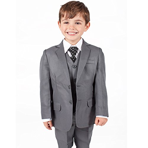 Boys Suits Boys Grey Suit 5 Piece Wedding Party Formal Outfit (0-3M - 14Yrs) (6-7years)