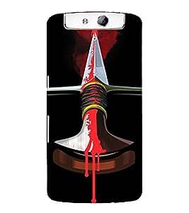 Print Masti Designer Back Case Cover for Oppo N1 (Red Steel Knife Blood Dead)