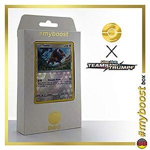 Tauros 129/181 Holo Reverse - #myboost X Sonne & Mond 9 Teams Sind Trumpf - Box de 10 Cartas Pokémon Alemán