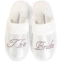 Zapatillas de hotel de novia para despedida de soltera, diamantes de imitación, con texto de cristal Hotel Zapatillas de Luna de Miel