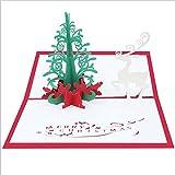 ZhiGe Weihnachtskarte Packung mit 3 Stück 3D Carving Skelett Postkarte Segen kleine Papierkarte Weihnachten Hirsch Weihnachten kreative stereoskopische Gree Ting-Karte