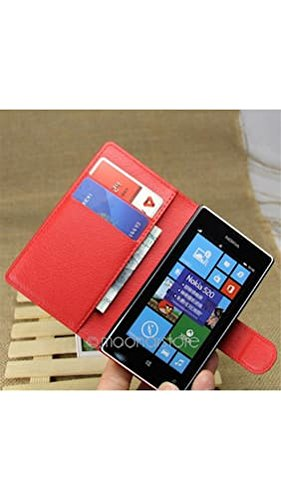 ELECTROPRIME® PU Leather Wallet Book Magnetic Book Flip Phone Case Cover for Nokia Lumia 520 (Red)