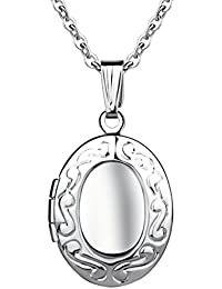 Yumi Lok Acero Inoxidable Foto medallón ovalado Photo imágenes Amuleto Plata Colores Rosa/Azul Redonda Colgante Collar Cadena Colgante Para Mujer Chica