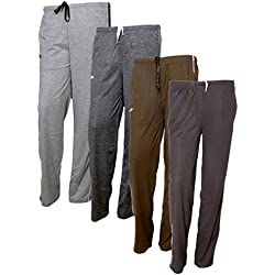 Indistar Women's Premium Cotton Lower with 1 Zipper Pocket and 1 Open Pocket(Pack of 4)_Grey::Brown::Brown::Brown-40