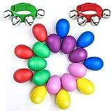 WXJ13 18 Stück 6 Farben Plastik Egg Shaker Set für Kids Partyzubehör Musical Toys mit 2 Stück Handgelenk Band Jingle Bells Musik Rhythm Toys
