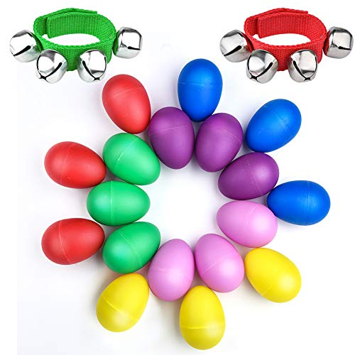 (WXJ13 18 Stück 6 Farben Plastik Egg Shaker Set für Kids Partyzubehör Musical Toys mit 2 Stück Handgelenk Band Jingle Bells Musik Rhythm Toys)