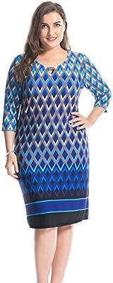 Chicwe Mujeres Vestido Tallas Grandes Keyhole Collar Metal Collar Recortar Frontera Impreso EU46-60