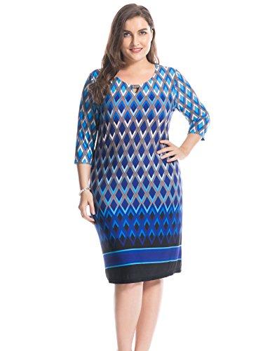 Chicwe Damen Große Größen Keyhole Metall Ausschnitt Trimmen Border Druck Kleid 58, Blau Border (Fit-jeans Stretch-trim)