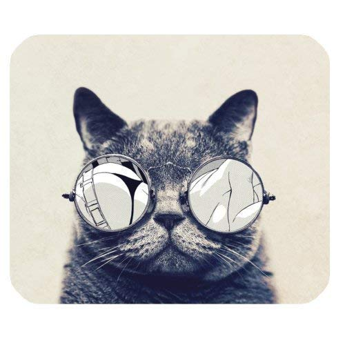 Hipster Cat Wearing Sunglasses Rectangle Non-Slip Rubber Mousepad 7.08X8.66 inches/18X22 cm Mouse Pad
