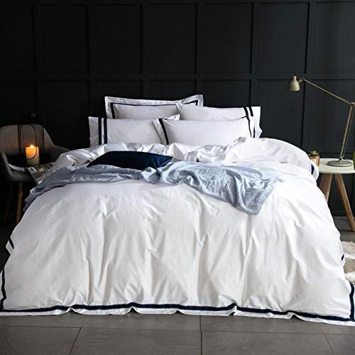 G'z Satin Striped 4 Stück Bettwäsche-Set 100% Baumwolle Bettbezug Royal Hotel Style Bettbezug 4pc White Trösterbezug Mit 2 Pillowshams 1 Bett/Flat Sheet NO Quilt Blue Bed Set (Size : King)