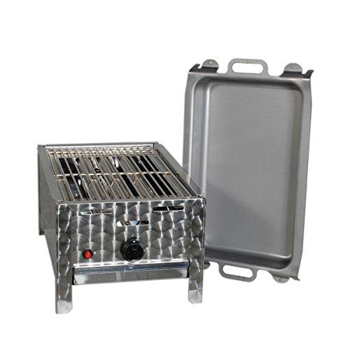Gasgrill-Kombibräter 4 kW mit Grillrost und Stahlpfanne 1-flammig Gasgrill Grill Gastrobräter Profigrill Verein