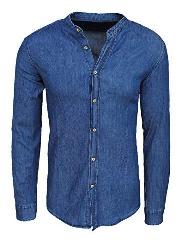 Evoga camicia di jeans uomo coreana blu scuro denim casual in cotone (l)