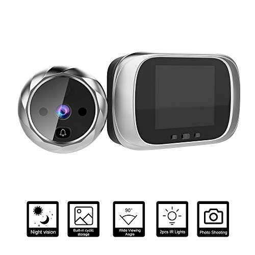 OWSOO Mirilla Digital con Pantalla LCD de 2.8 Pulgadas, Visor Mirilla Puerta, Soporte Vision Nocturna, Tomas de Fotos para Seguridad del Hogar-Plata