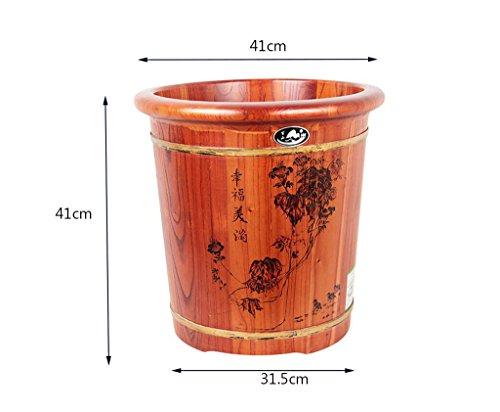 XWQ Piede Barrel / Salute vasca / Toon scultura di legno Fiore benna / 41 centimetri piedi vasca con coperchio