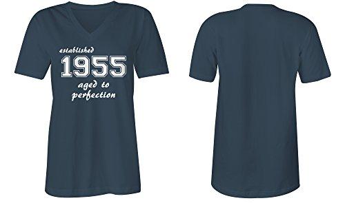 Established 1955 aged to perfection ★ V-Neck T-Shirt Frauen-Damen ★ hochwertig bedruckt mit lustigem Spruch ★ Die perfekte Geschenk-Idee (03) dunkelblau