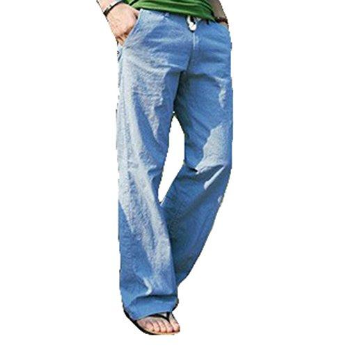 Mxssi Pantalones Casuales Hombre Pantalones de Lino Pantalones de Playa con  Bolsillos Color sólido Loose Pantalones 4b47276d80d2