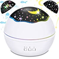 Baby Projector Night Light, BICASLOVE 2 in 1 LED Starry & Ocean Wave Projector Lamp, 360-Degree Rotating Night Light Projector with 8 Colors Modes for Kids Bedroom Children