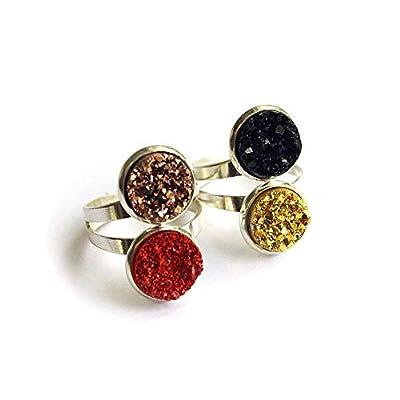 Bague fantaisie double pierre résine façon drusy druzy, bijou femme personnalisé, couleur au choix - rouge noir bronze ou doré - Anneau argenté ajustable au doigt