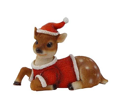 REH Rehkitz Hirsch Elch Rentier Weihnachts Deko Garten Tier Figur Kitz Hirschkuh