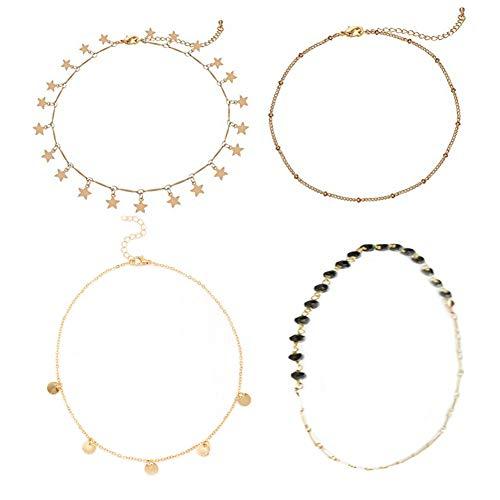 4 Unidades En Capas Colgante Gargantilla Collar Oro Hecho A Mano Ajustable Simple Cadena de Joyería Conjunto para Mujeres Niñas