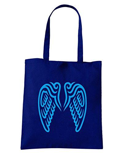 T-Shirtshock - Borsa Shopping FUN0596 angle wings decal 1 11350 Blu Navy