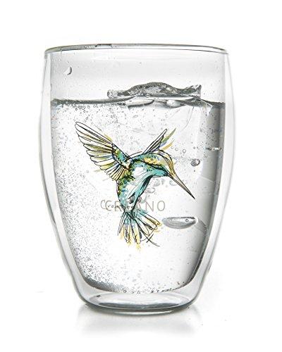 Creano Tasse de thé à double paroi ''Hummi'', Latte Macchiato, verre isotherme avec colibri, 250ml, couleur bleu