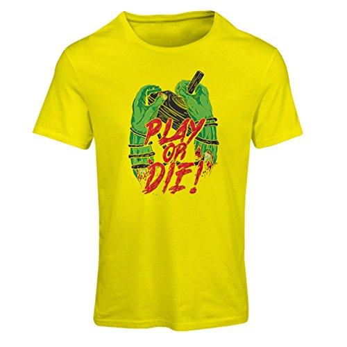 Frauen T-Shirt Spielen oder sterben - nur für Spieler! (Large Gelb Mehrfarben)