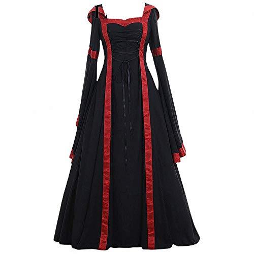 Kostüm Staubigen - FeiXing158 5XL Kleid Cosplay Kostüm Langarm Kleid mittelalterlichen Vintage Rüschen Kleid Kleid bodenlangen Renaissance Gothic