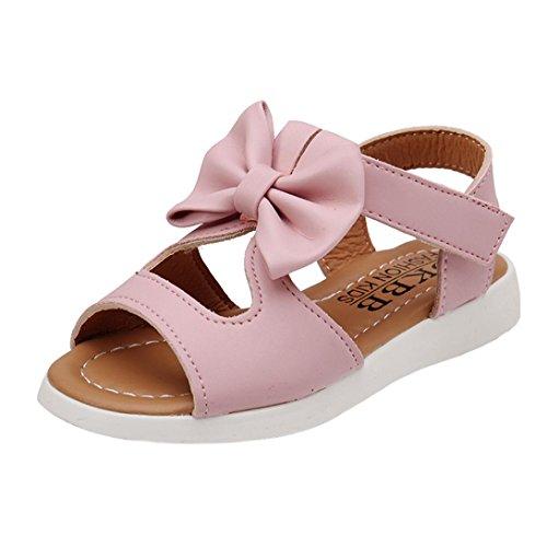 Elecenty sandali estivi ragazza eleganti scarpe fiocco trekking aperte partito nozze spiaggia bambina principessa (size:25, rosa)