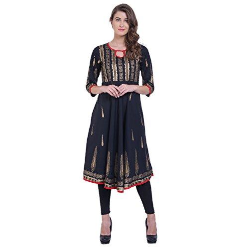 Women Black Colour 3/4 Sleeve With round neck Cotton Kurti Women's Clothing...