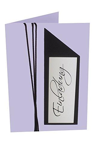 5er Bastelset KKE92 Einladungsskarten für Kommunion, Konfirmation, Geburtstag mit hochwertigen B6 Kuverts in Flieder